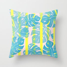 Linocut Monstera Neon Throw Pillow