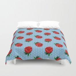 Beautiful Protea Pattern - White Polka Dots on Blue - Australian Native Flowers Duvet Cover