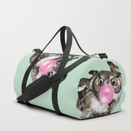 Sneaky Owl Blowing Bubble Gum Duffle Bag