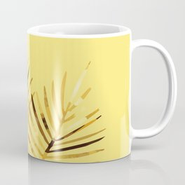 two Palm Leaves with yellow background Coffee Mug