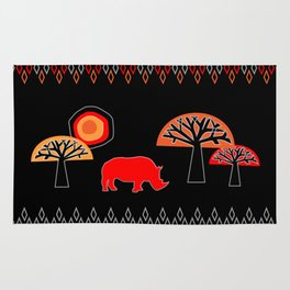 African Rhino (Hot colors) Rug