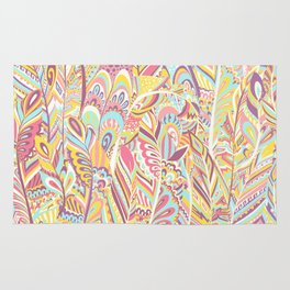 Abstract pink yellow teal hand painted bohemian feathers Rug