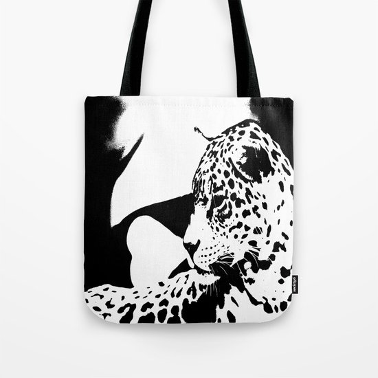 Black And White Wildcat  Tote Bag