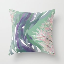 Deep Ocean River Abstract In Soft Green and Purple Throw Pillow