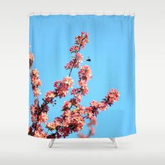 Pink flowers With Bee Shower Curtain