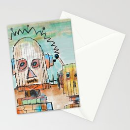 """""""Two Robot Dudes waiting for a Spaceship to go To Thompsonville near the AZ Strip"""" Stationery Cards"""
