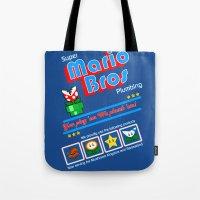 mario bros Tote Bags featuring Super Mario Bros Plumbing by brit eddy