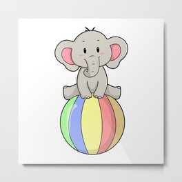 Elephant with Balloon Metal Print