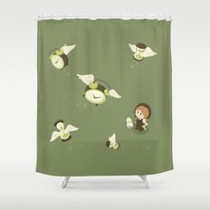 Girl Watching Time Flies Shower Curtain