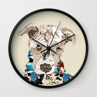 pit bull Wall Clocks featuring a pit bull day by bri.buckley