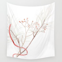 Winter Branches (white pine and rose hips) in Watercolor Wall Tapestry