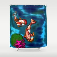 koi fish Shower Curtains featuring KOI FISH by aztosaha