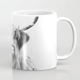 Black and White Highland Cow Portrait Coffee Mug