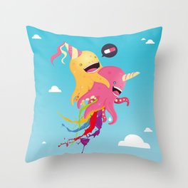 Poulpi et Licornet Throw Pillow