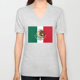 Mexican flag augmented scale with Coat of Arms Unisex V-Neck