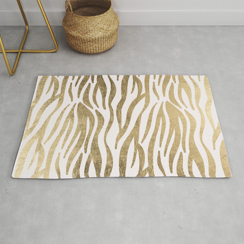 Chic Faux Gold White Modern Zebra