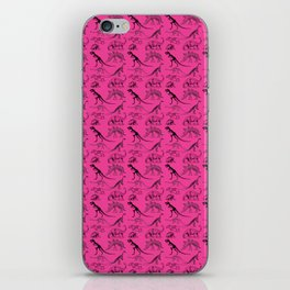 Vintage Museum Animals | Dinosaurs &  Skeletons on Pink | Surface Pattern Repeat iPhone Skin