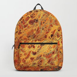 Fire Flame Acrylic Pour Painting Backpack