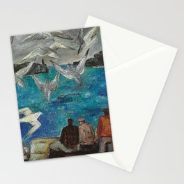 Blue Harbor, Seagulls with Fisherman at the Breakwaters nautical landscape by Bror Nordfeldt Stationery Cards