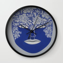 Woman's Visage blue face Wall Clock