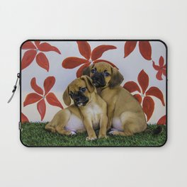 Two Puggle Puppies Snuggling in front of a Background with Hand-painted Red Flowers Laptop Sleeve