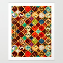 -A32- Epic Colored Traditional Moroccan Artwork. Art Print
