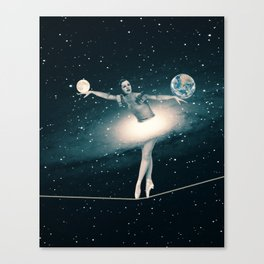 The Cosmic Game of Balance or Universe Ballerina Canvas Print