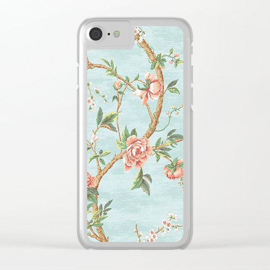 Rose bushes have thorns -Roses Flowers Floral Vintage Retro on Aqua #Society6 Clear iPhone Case