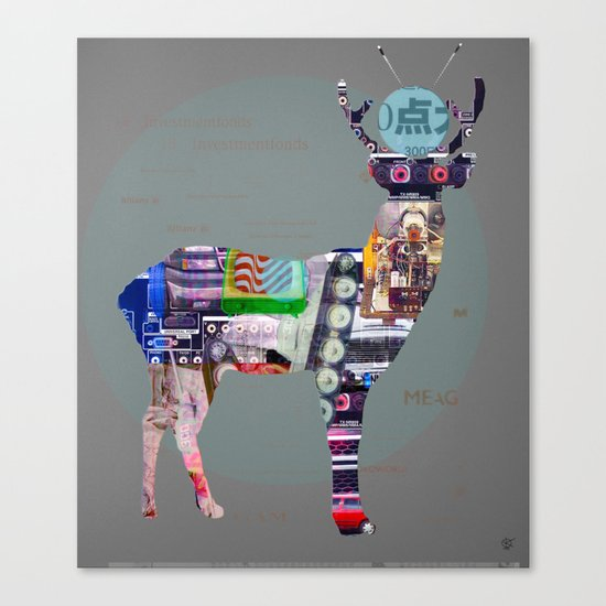 Deer Electric Canvas Print