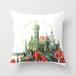 The Green Castle Throw Pillow
