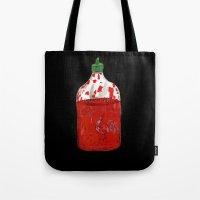 sriracha Tote Bags featuring Hot Sauce by ELIZABETH GRAEBER