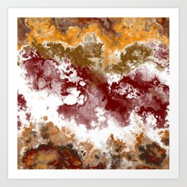 Gold Red and White Abstract Art Print
