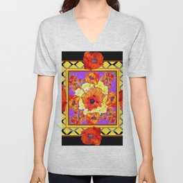 ABSTRACTED BLACK ORANGE-RED POPPIES DECORATIVE FLORAL Unisex V-Neck