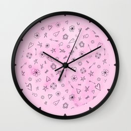 Pink girly watercolor pattern Hearts and Stars Wall Clock