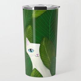 Jungle Cat white cat in leaves artwork by Tascha Travel Mug