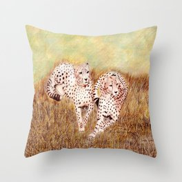 Resting Cheetahs Throw Pillow