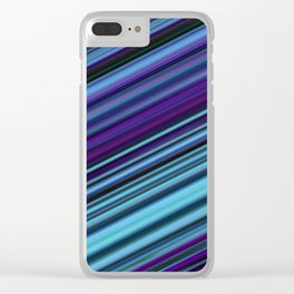Turquoise Purple Stripes Clear iPhone Case