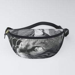 bengal cat yearns for freedom vector art black white Fanny Pack