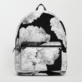 White Peony Flowers Black Background #decor #society6 #buyart Backpack