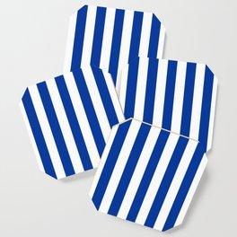 Dark powder blue - solid color - white vertical lines pattern Coaster