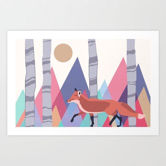 Fox stroll Art Print