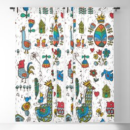 Swedish Folk Art Goose Fable Blackout Curtain