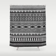 Ethnic Black Shower Curtain