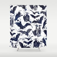 bats Shower Curtains featuring BATS by DIVIDUS