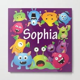 Cute & lovely monsters - Sophia (purple background) Metal Print