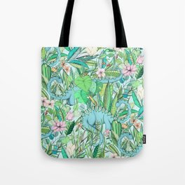 Improbable Botanical with Dinosaurs - soft pastels Tote Bag