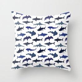 Blue Sharks Throw Pillow