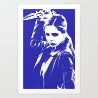 buffy the vampire slayer Art Prints featuring Buffy the Vampire Slayer - Blue by Laura