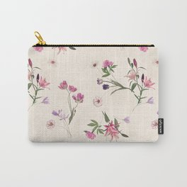 Scattered Floral on Cream Carry-All Pouch
