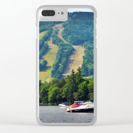 Shawnee Peak from Moose Pond in Maine (3) Clear iPhone Case